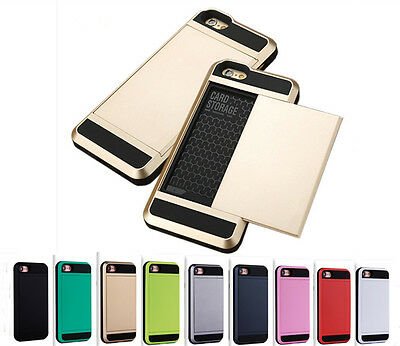 Slim Heavy Duty Shockproof Slide Wallet Card Case Iphone 5 6s 7 8 plus X Xr Xs