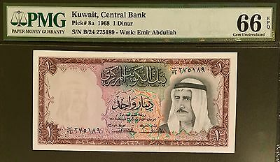 """Kuwait Banknote 1 Dinar 1968 """"Second Issue"""". Graded  PMG (66) Gem Uncirculated"""