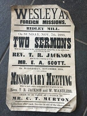 Vintage Antique Poster 7/11/1886 Two Sermons Ridley Mill Wesleyan Foreign