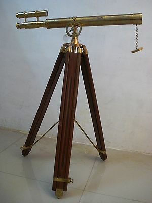 Vintage Style Brass Telescope With Tripod Stand - LARGE - Nautical / Marine