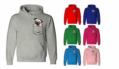 Kids Childrens Dog Pug Pocket Print Puppy Cute Funny Pullover Hoodie Age 5-13