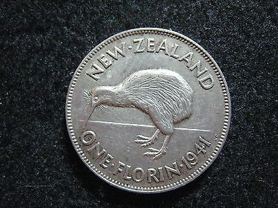1941 New Zealand Shilling Florin Silver Higher Grade Lusters  KM 10.1