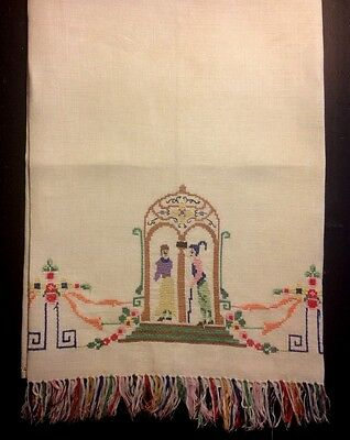 Antique Tea Towel Hand Embroidered Miniature Cross-stitch Hand Embroider Pattern
