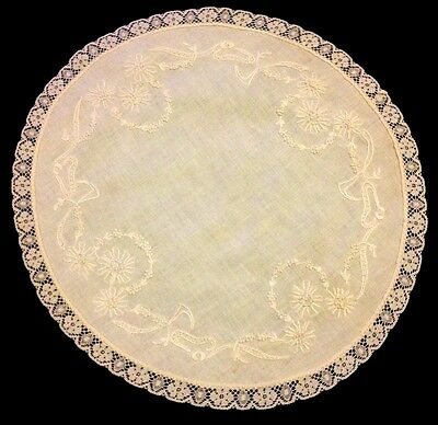 """Very Vintage Large Doily Centerpiece Hand Embroidered  Flowers Lace Trim 18 1/2"""""""