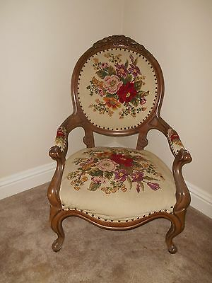 Carved Victorian Needlepoint Floral Chair local pick up only
