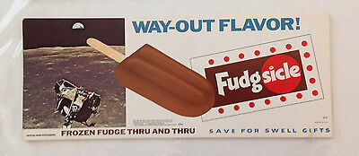 Vintage Ice Cream Paper Advertising Sign Popsicle Industries Fudgsicle 1971