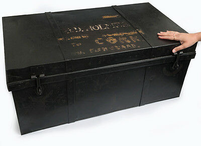 Antique Army Officer's METAL TRUNK Military J HOLMES COFFEE TABLE Cork Fishguard