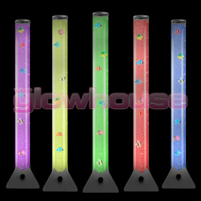 100cm Colour Changing LED Bubble Tube Novelty Sensory Mood Fish Water Floor Lamp