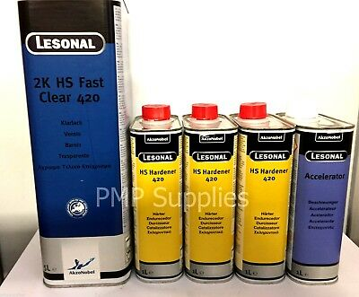 LESONAL HS Fast Clear 420 Clearcoat Lacquer Fast Dry Pack Hardener Accelerator