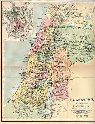 Map Of Palestine Antique Original Printed 1891