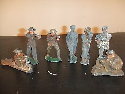 Antique Cast Iron Toy Army Men In Assorted Positions And Condition  This Is A Ro