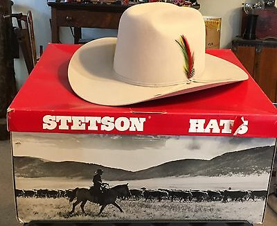 Stetson Vintage Marlboro Rancher Cowboy Hat -80s - Silver Belly Grey With Box