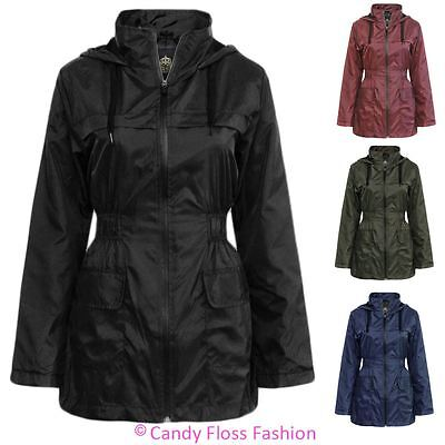 Ladies Festival Plain Hooded Raincoat Womens Anorak Lightweight Jacket Coat Top