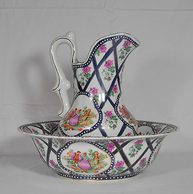 Limoges Water Basin And Pitcher, Victorian Courting Couple