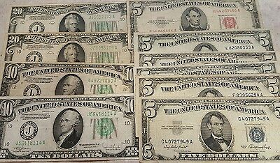 $90.00 Face Value Mixed Old United States Currency Note Lot - $5, $10, & $20