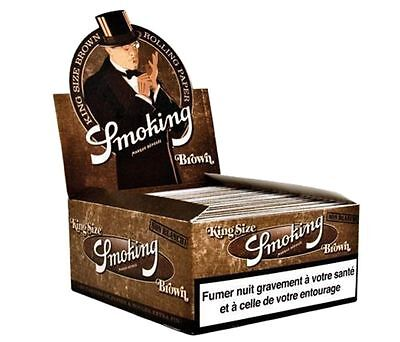 25 Libretti 825 Fogli Cartine SMOKING BROWN SLIM LUNGHE KING SIZE Marroni
