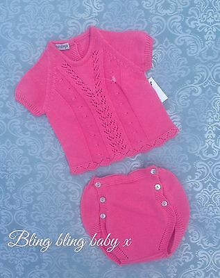 Baby Girls Spanish Traditional Knitted Outfit Set Romper 12-18 Months  Romany