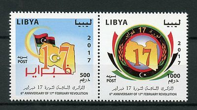 Libya 2017 MNH February 17th Revolution 6th Anniv 2v Set Flags Stamps
