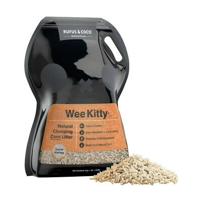 New Rufus & Coco Wee Kitty Clumping Corn Litter 4kg/8L