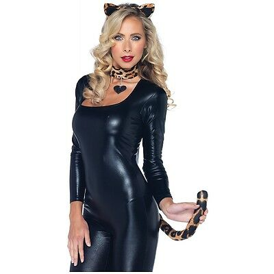 Lovely Leopard Kit Adult Teen Cougar Cat Ears Tail Choker Halloween Costume Asry
