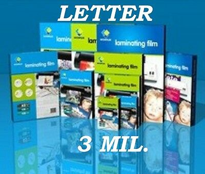 Corbin Quality 100 LETTER SIZE Laminating Pouches 9 x 11-1/2  3 Mil FREE CARRIER