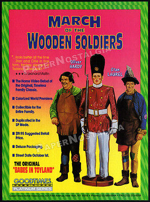 MARCH OF THE WOODEN SOLDIERS__Original 1991 Trade AD movie promo__LAUREL & HARDY
