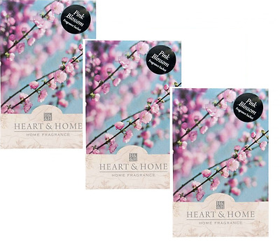 Pack of 3 Heart and Home Pink Blossom Large Scented Fragrance Sachet with Hanger