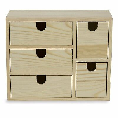 Small Multi Purpose Desktop Organizer Caddy 5 Drawers,Sewing Box Unfinished Wood
