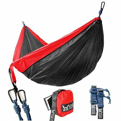 Double Camping Hammock Light Portable Backpacking Camping Travel Beach Red