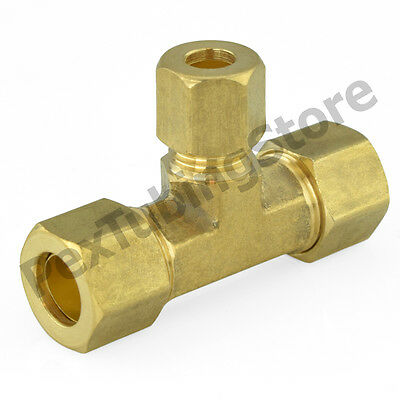 """3/8"""" x 3/8"""" x 1/4"""" OD Tube (Lead-Free) Brass Compression Reducing Tee Fitting"""