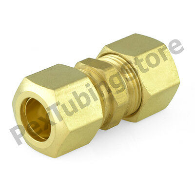 """(100) 1/4"""" x 1/4"""" OD Tube (Lead-Free) Brass Compression Union Fittings"""