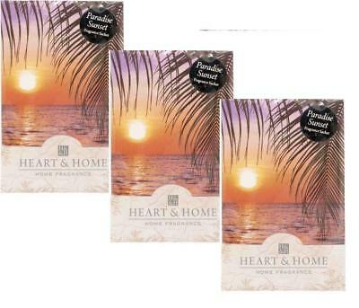 Pack of 3 Heart and Home Paradise Sunset Large Scented Sachet with Hanger