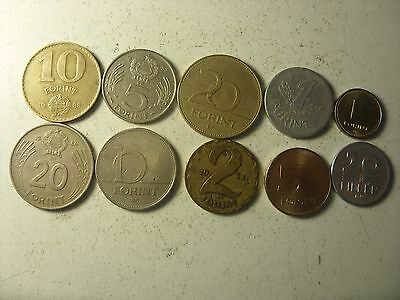 Lot Of 10  Hungary   Coins   20 Filler-20 Forints    Interesting 1968-2007