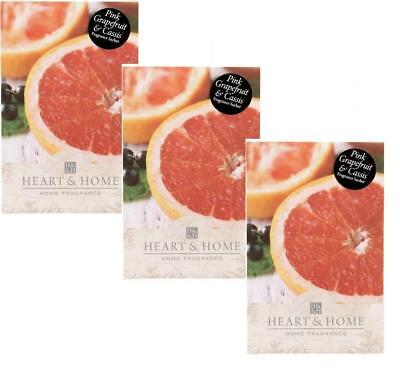 3x Heart and Home Pink Grapefruit Large Fragrance Scented Sachet with Hanger
