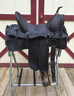 """ANTIQUE 15.5"""" Western Ranch Highback Stock Saddle Hand Forged Stirrups Iron Horn"""