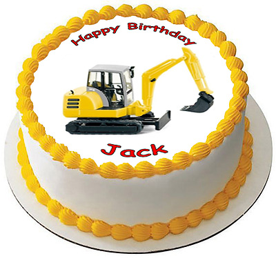 DIGGER TRACTOR 7.5 PREMIUM Edible RICE Cake Topper CAN BE PERSONALISED D4