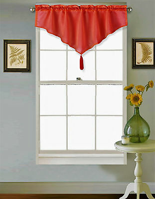 1Pc Red Drod Pocket Faux Silk Small Window Valance Swag Topper W/Fringes Vince
