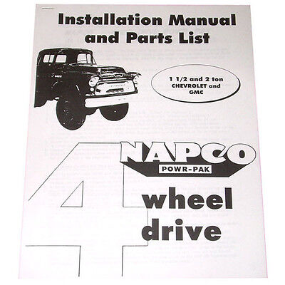 1956 1957 1958 1959 NAPCO Installation Manual & Parts List For Chevy GMC  Truck