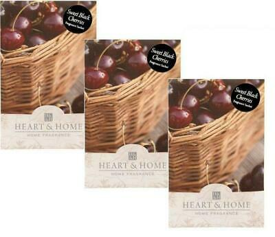 Pack of 3 Heart and Home Sweet Black Cherries Large Scented Sachet with Hanger