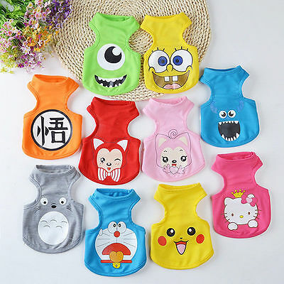 Small Pet Dog Clothes Shirt Vest Cartoon Cat Puppy Summer Apparel Costume XS-XXL