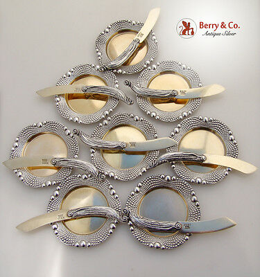 Figural Corn Butter Pads And Butter Knives Set of 8 Gorham Sterling Silver