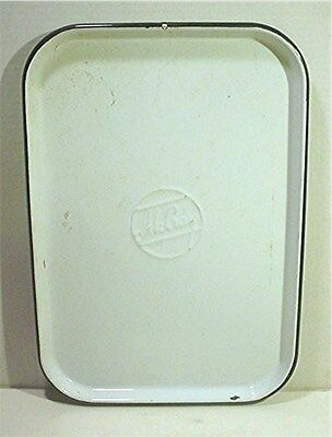 VINTAGE  WHITE AND BLACK PORCELAIN McCRAY REFRIGERATOR TRAY