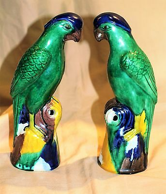 Near Pair of Dark Green & Multi Colored Late Qing Porcelain Parrots c.1875