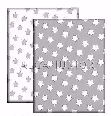 Flat Baby Sheet pack of  2 - Pram Crib Cot Cot bed 100% cotton grey white stars