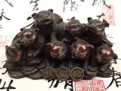 China Feng Shui Bronze Carved Eight Wealth Money fortune pig Lucky statue
