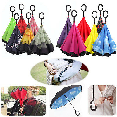 C-Hand Windproof Reverse Double Layer Inverted Umbrella Inside Out Self Stand