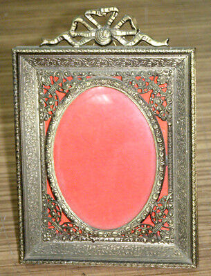 Vintage Ornate Pierced Metal Small Portrait Photo Frame