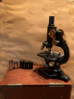 Antique Spencer Binocular Microscope stamped Buffalo NY in Original Wooden Box
