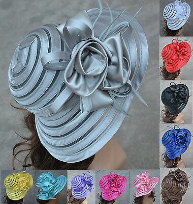 Womens Church Wedding Royal Ascot Ladies' Day Satin Ribbon Feather Sun Hat A214