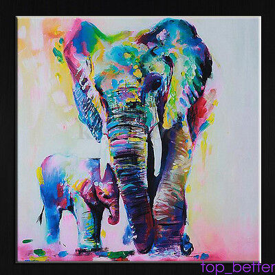 Modern Hand-painted Art Oil Painting Abstract Wall Decor Elephant on Canvas TOP